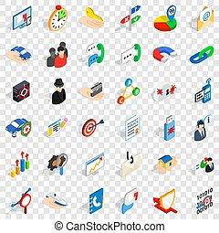 Management icons set, isometric style