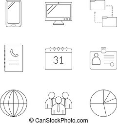 Management icons set, outline style