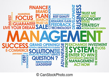 Management  in word cloud and white background