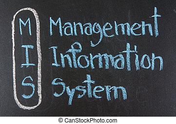 management information system written on blackboard background