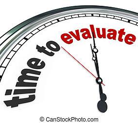 management, klok, evalueren, bespreken, tijd, schating, of