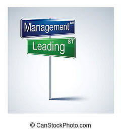 Management leading direction road sign.