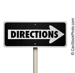 management, meldingsbord, bewindvoering, straat, weg, richtingen, een, gids, straat, instructies