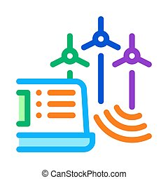 management of wind energy technicians icon vector outline illustration