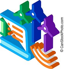 management of wind energy technicians isometric icon vector illustration