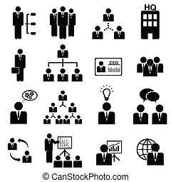 management, pictogram, set