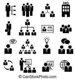management, pictogram, set