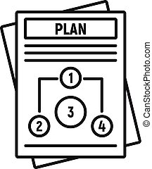 Management plan icon, outline style