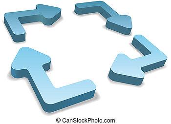 management, proces, pijl, 4, hergebruiken, cyclus, 3d