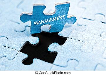 Management puzzle - Management piece of puzzle stand up