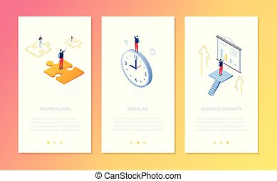 Management - set of isometric vector vertical web banners