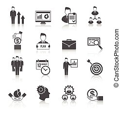 management, set, pictogram