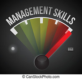 management skills level measure meter from low to high,...
