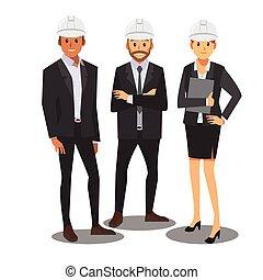management, ), team, vector, witte hoed, ingenieur