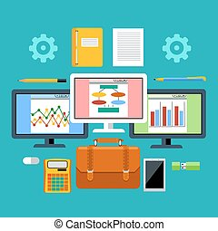 Management tools with digital devices concept