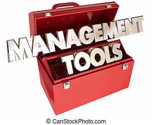management, toonaangevend, uitvoerend, woorden, team, organisatie, toolbox, gereedschap, 3d