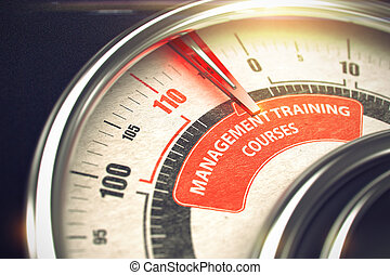Shiny Metal Manometer with Red Punchline Reach the Management Training Courses. Illustration with Depth of Field Effect. 3D Render.