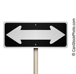management, twee, meldingsbord, bewindvoering, straat, weg, richtingen, gids, straat, instructies