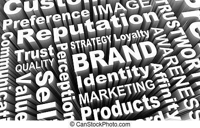 management, woord, collage, merk, illustratie, stategy, bedrijf, identiteit, 3d