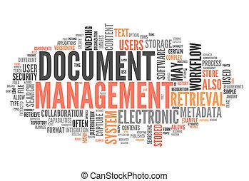 management, woord, document, wolk