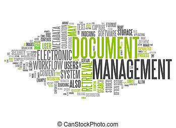 management, woord, document, wolk