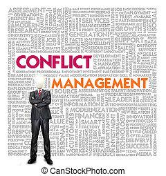 management, woord, financiën, handel concept, wolk, conflict