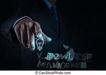 management, woord, kennis, wijzende, licht, scherm, feitelijk, hand, conceptontwikkeling, zakenman, bol, computer