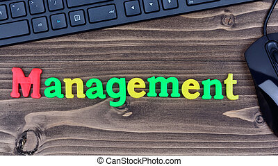 Management word on table