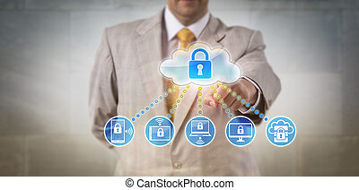 Manager Accessing Data On Networked Devices - Unrecognizable...