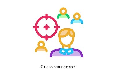 manager aim target Icon Animation. color manager aim target animated icon on white background