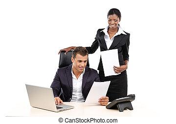 manager, allgemein, liest, papiere