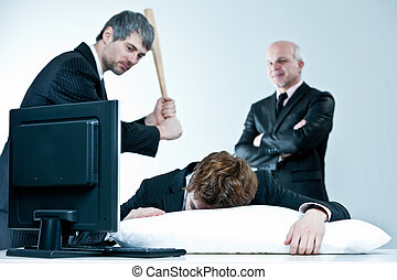 manager and boss discover lazy employee sleeping during day job