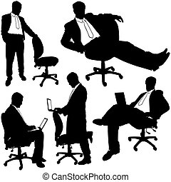 Business Silhouettes 23 - Manager and rolling chair - illustrations