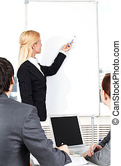 Manager at whiteboard