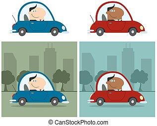 manager, auto., fahren, sammlung