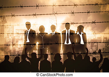 Manager behind Barbed wire - the banking managers behind...