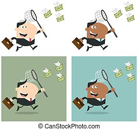 Manager Chasing Flying Money