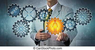 Manager Choosing Male Engineer Icon In Gear Train