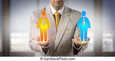 Manager Comparing Two Male Workers In His Hands