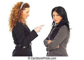Manager conflict employee woman - Upset manager pointing to...