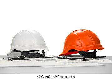 manager., construcción, lugar de trabajo