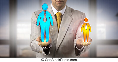 Manager Contrasting Small Versus Big Male Worker