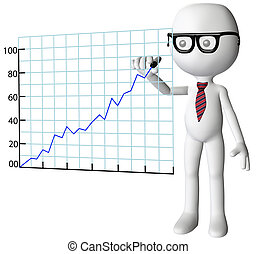 Smart company manager drawing a chart of financial success with a marker