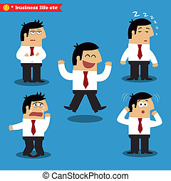 Manager emotions in poses, standing set vector illustration