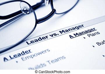 manager, führer, vs.