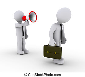 Manager firing employee with megaphone - 3d person with...