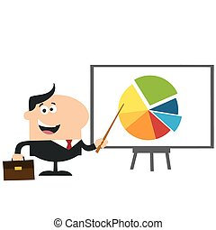 Manager Pointing Progressive Pie Chart On A Board. Flat Style