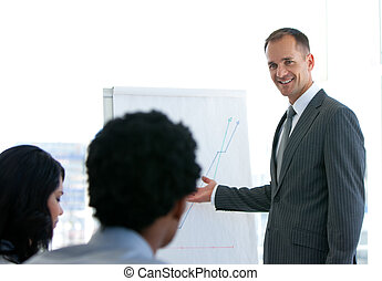 Manager giving a presentation to his team
