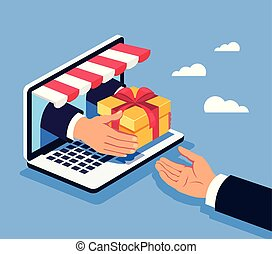 Manager hand giving gift box to consumer winner man. Online shopping concept. Vector flat cartoon graphic design isolated illustration
