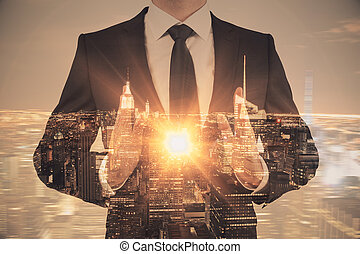 Manager  holding abstract  light